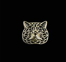 Exotic Shorthair Cat Brooch or Pin -Fashion Jewellery Gold Plated, Stud Back