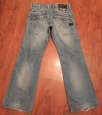 Womens G STAR Jeans W26 L28 Lock Loose Zip Fly Leather Badge Back Pockets Blue