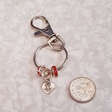 Handmade Lobster Clasp Keyring with Tibetan Silver Heart Charm & Red Rhinestone