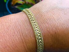 "W😳W! Stunning! 14k Yellow Gold 5.8 Grams Aurafin Wheat Bracelet  7 "" Not Scrap"
