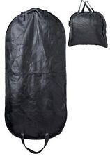 """46"""" Black Leather Garment Hanging Bag Carry On Luggage Mens Womens Dress Suits"""