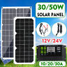 30W/50W USB Solar Panel 10/20/30A 12/24V AUTO LCD Display PWM Charge Controller