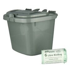 Silver Kitchen Compost Caddy Bin & 50x 6L Biobags - Food Recycling (5 Litre)