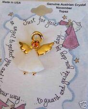 Angel Pin Austrian Crystal Birthstone November Topaz Howard's Mfg