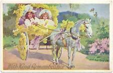 Two Girls in Carriage White Horse greeting Postcard
