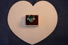 925 Silver Ring With  Blue Abalone Gem  6.1Gr. 2 x 1.5 Cm Wide Size  L - O - S
