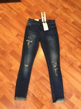"Vanilla Star Destroyed Skinny ""Let it Roll"" Mid Rise Stud Design Jeans Sz 3 New!"