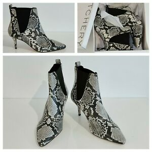 NEW Witchery ANKLE BOOTS Size 41 EU, Graphite Kitten Heel Leather Boots RRP$249
