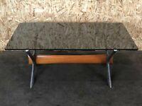 60er 70er Jahre Tisch Coffee Table Couchtisch Glasplatte Metall Teak 60s 70s