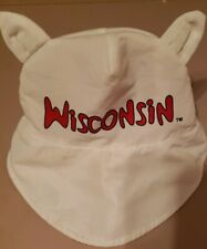 Wisconsin Badger Sunhat with Ears Toddler 12-18 mos. Visor in front, velcrostrap