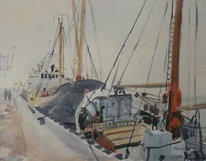 Poole Harbour Dorset Marine Watercolour c1950s Ralph Hartley (British 1926-1988)