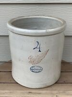 "Antique 4 Gallon Red Wing Union Stoneware Pottery Crock With 4"" Wing NICE!!"