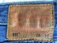 Levis 511 W28 L32 Stretch Leather Patch Jeans Denim Blue