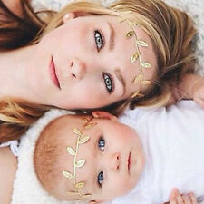 Women Baby Newborn Leaf Headband Hair Band Accessories Photography Elastic Gold