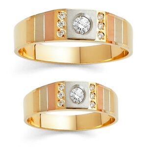 14K Tri-color Solid Gold Simulated Diamond Man/Woman Wedding Band Unisex Ring