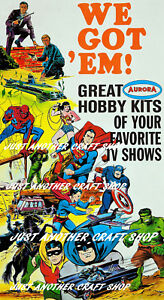 Aurora Models 1969 Batman America Hulk Uncle Superman Spiderman Poster Advert