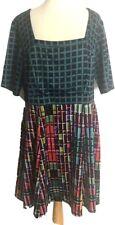 Jete Size 1X Womens Sheath Knit Modest Lined Dress Black Color Block Squares USA