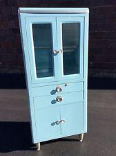 "Vintage Robin Egg Blue 60"" Tall Doctors Medical Metal Cabinet - Great look -Nice"