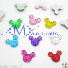 40pcs Mixto 14 mm parte posterior plana Mickey Minnie Mouse Cabeza Resina Strass Craft Gemas