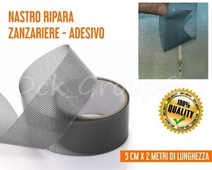 Nastro ADESIVO Ripara Zanzariere Zanzariera FIBRA VETRO Grigio 5x200 cm INSETTI