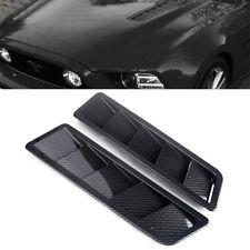 2Pcs/Set w/ Tape Universal Car Carbon Fiber Hood Vent Louver Cooling Panel Trim