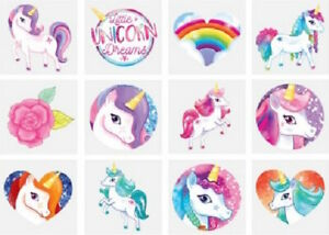 12 UNICORN Temporary Tattoo's Children's Party Loot Bag Fillers Girls Gifts