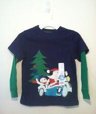 Nwt Little Boys Size 4 J Khaki Blue And Green Long Sleeve Santa Shirt