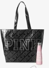 Victoria's Secret Pink Water Bottle And Reusable Tote Black BNWT