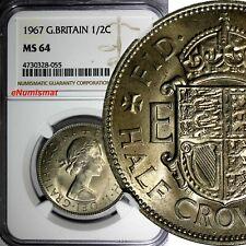 Great Britain Elizabeth II Copper-Nickel 1967 1/2 Crown NGC MS64 KM# 907
