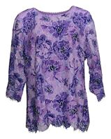 Isaac Mizrahi Live! Women Top Sz 1X Floral Printed Lace 3/4-Sleeve Knit A365433