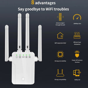 Wireless Repeater Wifi Router Extender 4 Antenna 300M Signal Amplifier Home