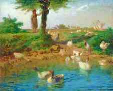 The Goose Girl by Jean Francois Millet - Child Watch Birds Pond 8x10 Print 01983
