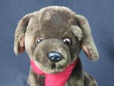 DILLARDS DEPARTMENT STORE BROWN CHOCOLATE LAB PUPPY DOG RED NECKTIE PLUSH