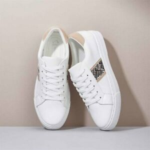 AVON Ladies Womens White Snake Animal Print Trainers Shoes Lace-Up Size 7 8