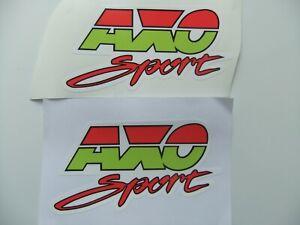 2x NEW AXO SPORT 1980'S MOTORCYCLE DECALS STICKER VINTAGE CLASSIC SCRAMBLER MX