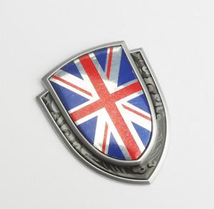 3D Silver Metal Alloy England Union Jack Flag Car Fender Rear Trunk Emblem Badge