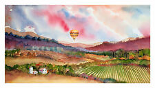 Napa Valley Balloon in the Vineyard Print - Wine Country Watercolor-