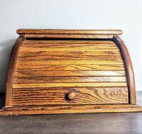 """Beautiful Vintage Wood roll top bread box Huge 17""""Lx11""""Hx13.5""""D"""