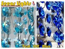 BLUE or TEAL WEDDING BEADS CHANDELIER DROPLETS CRYSTALS 14MM GLASS DROPS GARLAND
