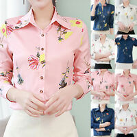 Womens Blouse Floral Printed Tops Lapel Button Long/Short Sleeve Shirt Blouse US