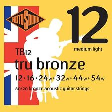 Rotosound TB12 Tru Broze Acoustic Guitar Strings Gauge 12-42  - Made in the UK