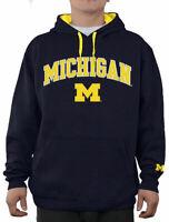 NCAA Michigan Wolverines Blue Embroidered College Classic Hoodie Sweatshirt