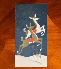 Vintage UNUSED Christmas Card GOLD & WHITE PAIR OF PRANCING DEER MCM