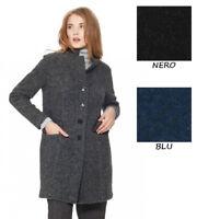 45% SCONTO CAPPOTTO LUNGO DONNA RAGNO LANA COTTA 71053W bottoni invernale giacca