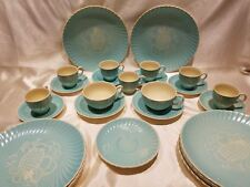 Susie Cooper Spiral Sgraffito Pineapple Demitasse Tea Cups Saucers Dinner Plates