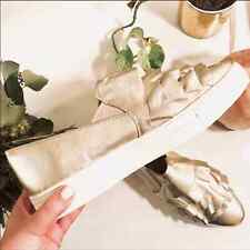 New Anthropologie Seychelles Quake Metallic Gold Ruffle Sneakers Shoes 9.5
