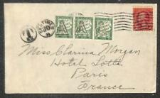 NEW JERSEY USA TO PARIS FRANCE POSTAGE DUE STAMPS COVER 1920s