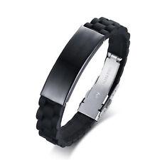 Men's Stainless Steel WristBand Black Silicone Bracelet Men Punk Style Bracelet