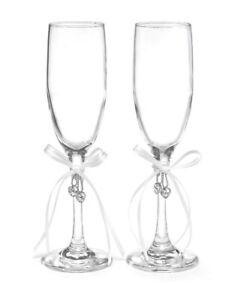Horense B Hewitt Champagne Glasses Wedding Toast Heart's Desire Charm New