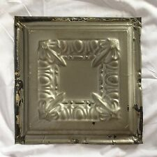 "Reclaimed 1890's 12"" x 12"" Antique Tin Ceiling Tile Silver Metal 39-17"